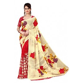 Kashvi Sarees georgette with Blouse Piece Saree (AS_1080_ Red_ One Size)