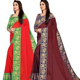 Kashvi sarees combo of chiffon sarees with blouse piece (Pack of 2) COMBO_1600_1_1602_5