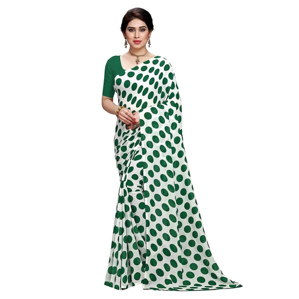 Kashvi Sarees Printed Polka Dot Georgette Saree with Blouse Piece