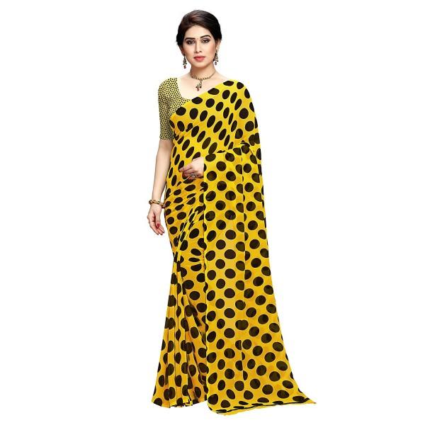 Kashvi Sarees georgette Saree (1612_2_ Yellow_ one size)