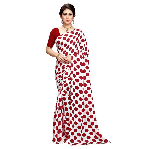 Kashvi Sarees Printed Polka Dot Georgette Saree with Blouse Piece