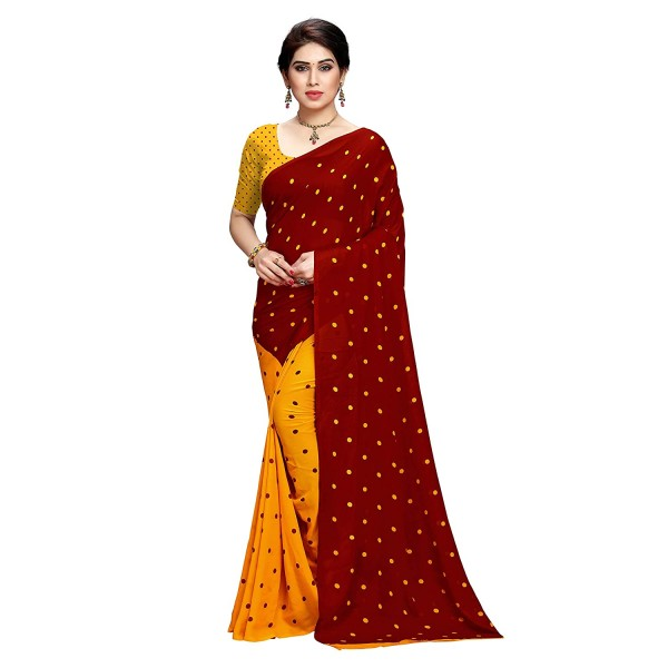 Kashvi Sarees Polka Dot Half and Half Georgette Saree with Blouse Piece(1262_7)