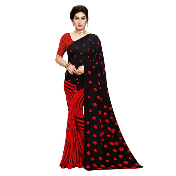 Kashvi Sarees Red Printed Georgette Saree with Blouse Piece
