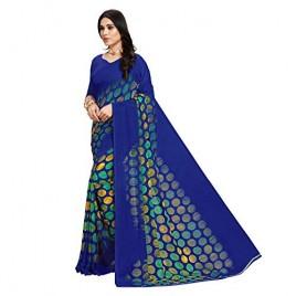 Kashvi Sarees Blue Printed Georgette Saree with Blouse Piece(1630_1)