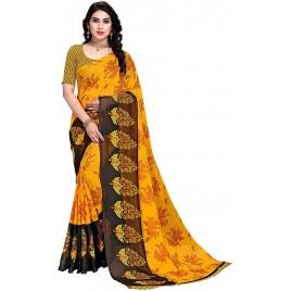 Kashvi Sarees Georgette Floral Printed Saree with Un-stitched Blouse