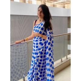 Printed Daily Wear Georgette Saree  (Blue)