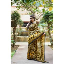 Floral Print, Graphic Print Daily Wear Georgette Saree  (Yellow, Black)