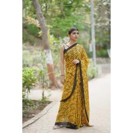 Floral Print, Geometric Print Daily Wear Georgette Saree  (Yellow, Black)