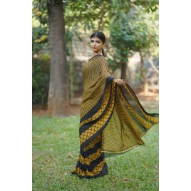 Geometric Print, Striped, Printed Daily Wear Georgette Saree  (Yellow, Black)