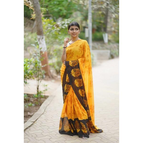 Floral Print Daily Wear Georgette Saree  (Multicolor)