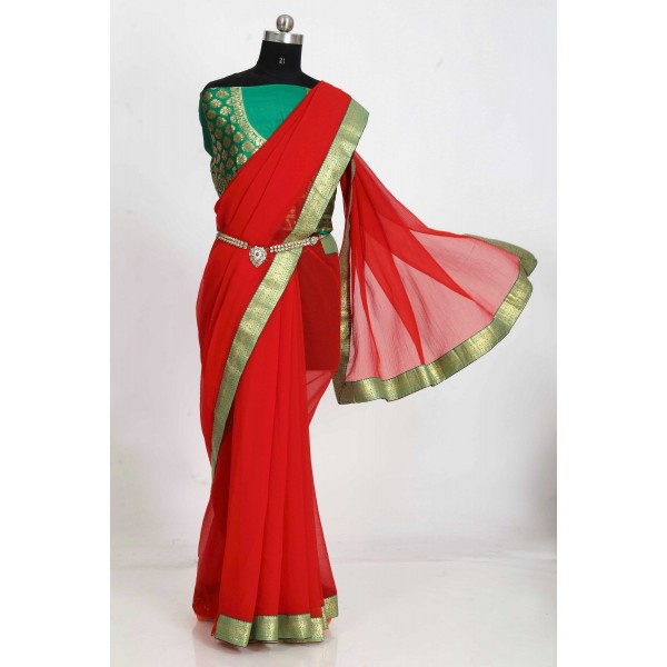 Embellished Bollywood Chiffon Saree  (Red)