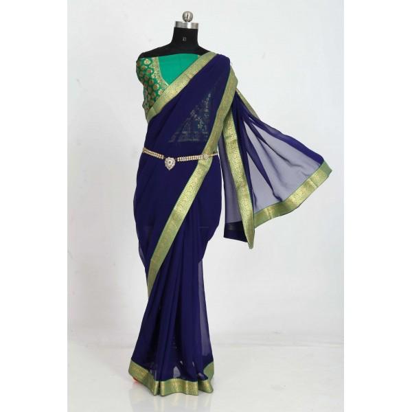 Embellished Bollywood Chiffon Saree  (Dark Blue)