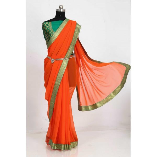 Embellished Bollywood Chiffon Saree  (Orange)
