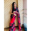 Floral Print Daily Wear Georgette Saree  (Black)