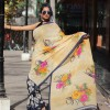 Elegant Cream & Black Printed Faux Georgette Saree With Blouse Piece
