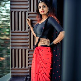 Polka Dotted Red & Black Printed  Faux Georgette Saree With Blouse Piece