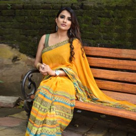 Bold Yellow & Multi Printed  Faux Georgette Saree With Blouse Piece