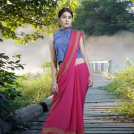 Beautiful Pink & Multi Color Faux Georgette Printed Saree