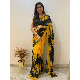 Floral Print Daily Wear Georgette Saree  (Yellow)