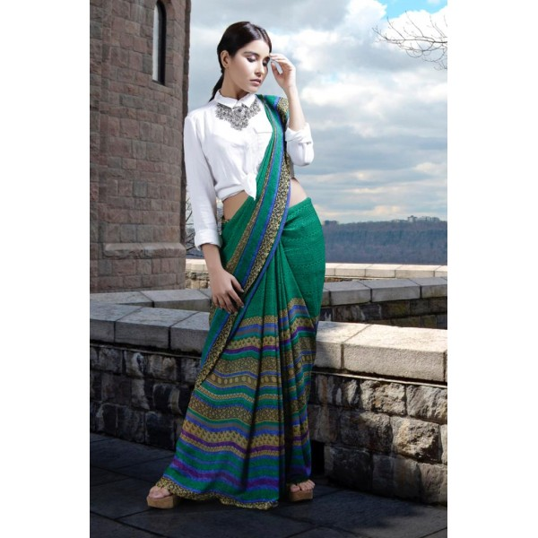 Paisley, Striped, Floral Print Daily Wear Georgette Saree  (Green)
