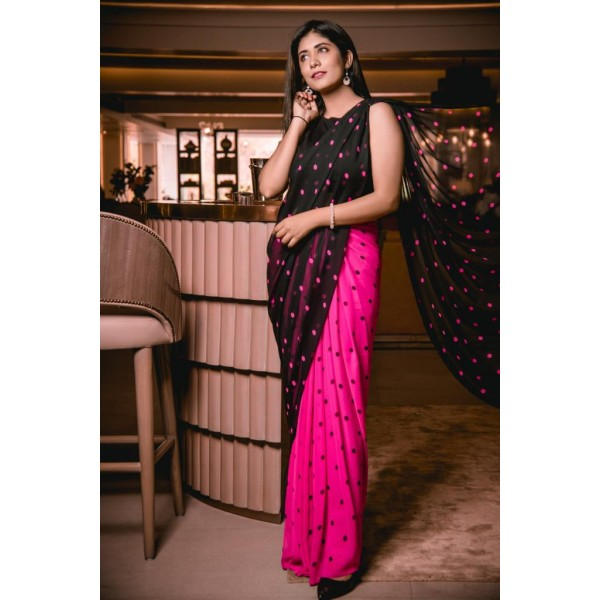 Polka Print Daily Wear Georgette Saree  (Pink, Black)