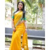 Embellished Bollywood Chiffon Saree  (Yellow)