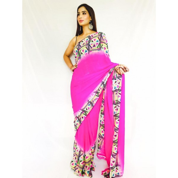 Printed, Ombre, Geometric Print Daily Wear Georgette Saree  (Pink)