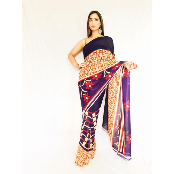 Striped, Floral Print, Checkered Daily Wear Georgette Saree  (Purple)