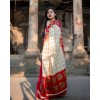 Checkered Bhagalpuri Silk Blend Saree  (Red)