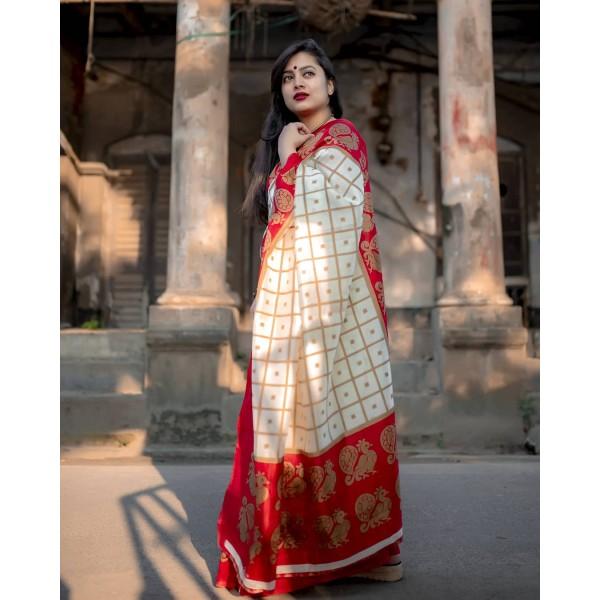 Checkered Bhagalpuri Silk Blend Saree  (Red)