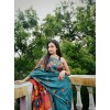 Printed, Animal Print, Floral Print Mysore Silk Blend Saree  (Dark Blue)