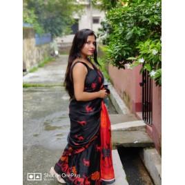 Printed Bhagalpuri Khadi Silk Saree  (Black)