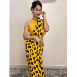 Printed Daily Wear Georgette Saree  (Yellow, Black)