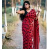 Printed Daily Wear Georgette Saree  (Red, Black)