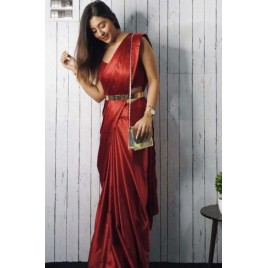 Solid Fashion Satin Blend Saree  (Maroon)