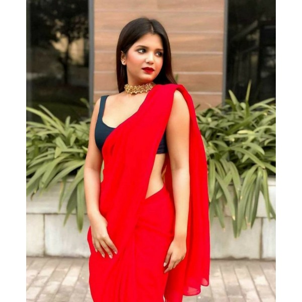 Plain Daily Wear Poly Georgette Saree  (Red)