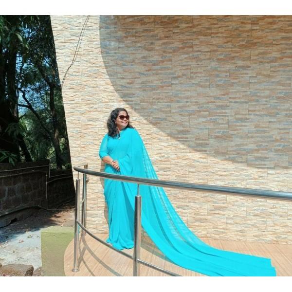 Plain Daily Wear Poly Georgette Saree  (Light Blue)