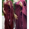 Solid Fashion Satin Blend Saree  (Maroon)