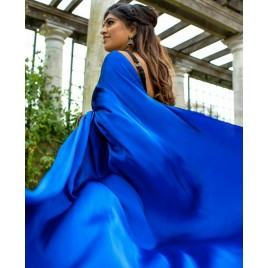 Solid Fashion Satin Blend Saree  (Blue)