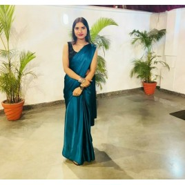 Solid Fashion Satin Blend Saree  (Blue)