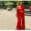 Solid Fashion Satin Blend Saree  (Red)