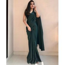 Solid Fashion Satin Blend Saree  (Green)
