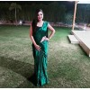 Solid Fashion Satin Blend Saree  (Green)