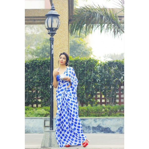 Printed Daily Wear Georgette Saree  (Blue)