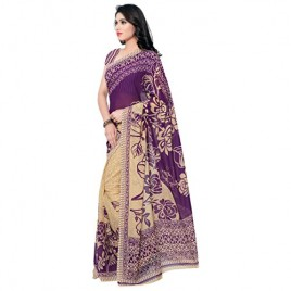 Kashvi Sarees Faux Georgette Purple Color Printed Saree With Blouse Piece ( 1086_6 )