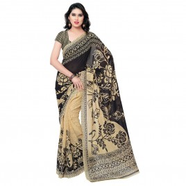 Bold Black and Cream Floral Printed Half-Half Faux Georgette Saree With Blouse Piece ( 1086_1 )