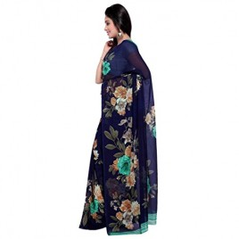 Beautiful Blue & Sea Green Flower Printed Faux Georgette Saree With Blouse Piece ( 1052_1 )