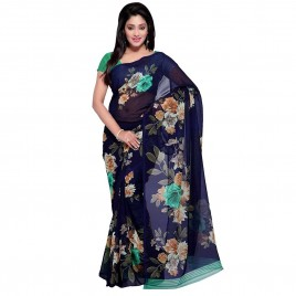 Beautiful Blue & Sea Green Flower Printed Faux Georgette Saree With Blouse Piece