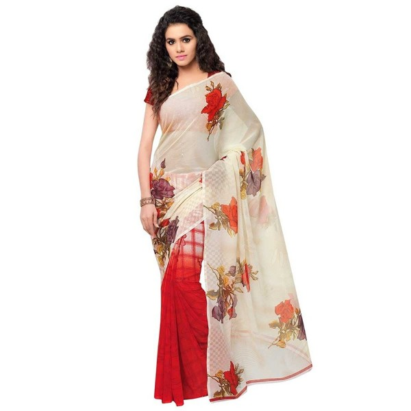 Kashvi Sarees Faux Georgette Red & Multi Color Printed Saree With Blouse Piece ( 1080 )