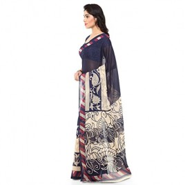 Beautiful Blue and Cream Faux Georgette Printed Saree With Blouse Piece